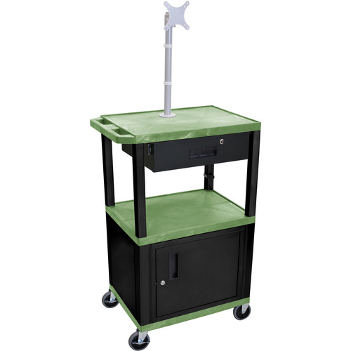 "Luxor 42"" A/V Cart with Monitor Mount, 3 Shelves, Cabinet, Locking Drawer & Electric Assembly (Green)"
