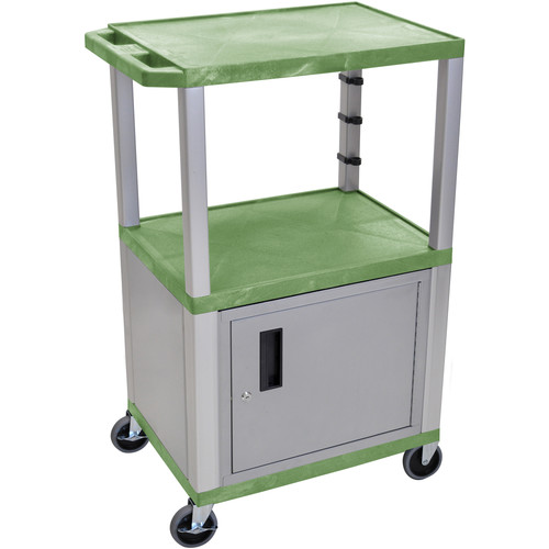 "Luxor 42"" A/V Cart with 2 Shelves, 3-Outlet Electrical Assembly, and Cabinet (Green Shelves, Nickel-Colored Legs and Cabinet)"