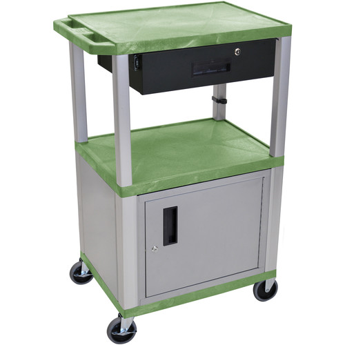 "Luxor 42"" A/V Cart with 2 Shelves, Cabinet, 3-Outlet Electrical Assembly, and Locking Drawer (Green Shelves, Nickel-Colored Legs and Cabinet)"