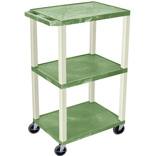"Luxor 42"" A/V Cart with 3 Shelves and Electrical Assembly (Green Shelves, Putty Legs)"