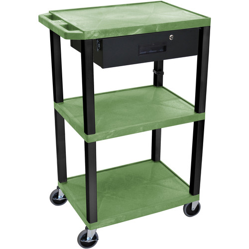 """Luxor 42"""" A/V Cart with 3 Shelves Locking Drawerand Electrical Assembly (Green Shelves, Black Legs)"""