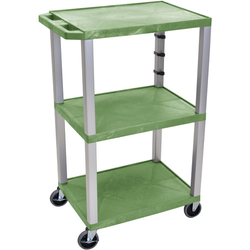 """Luxor 42"""" A/V Cart with 3 Shelvesand 3-Outlet Electrical Assembly (Green Shelves, Nickel-Colored Legs)"""