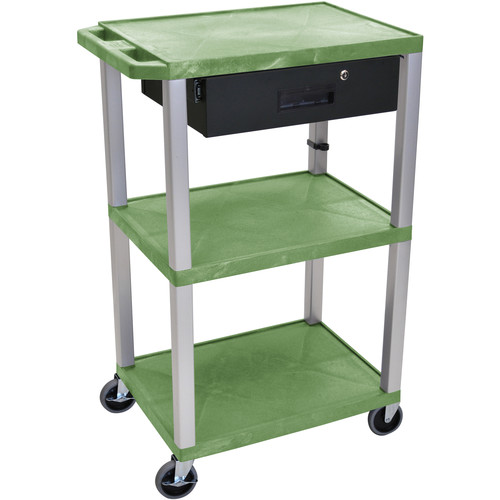 "Luxor 42"" A/V Cart with 3 Shelves, 3-Outlet Electrical Assembly, and Locking Drawer (Green Shelves, Nickel-Colored Legs)"