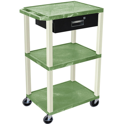 "Luxor 42"" A/V Cart with 3 Shelves, 3-Outlet Electrical Assembly, and Locking Drawer (Green Shelves and Putty Legs)"