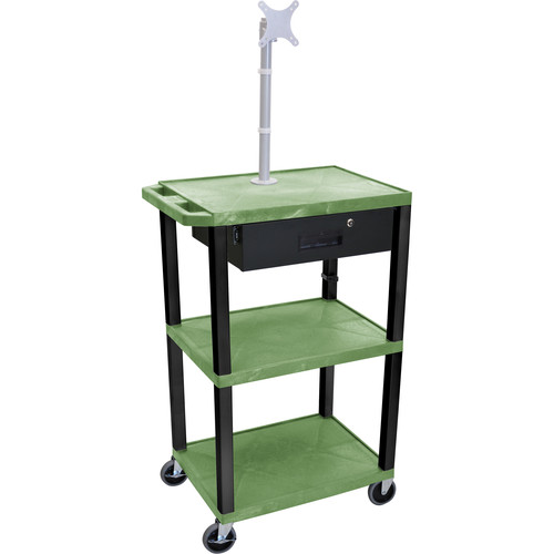 "Luxor 42"" A/V Cart with Monitor Mount, 3 Shelves, Locking Drawer & Electric Assembly (Green)"