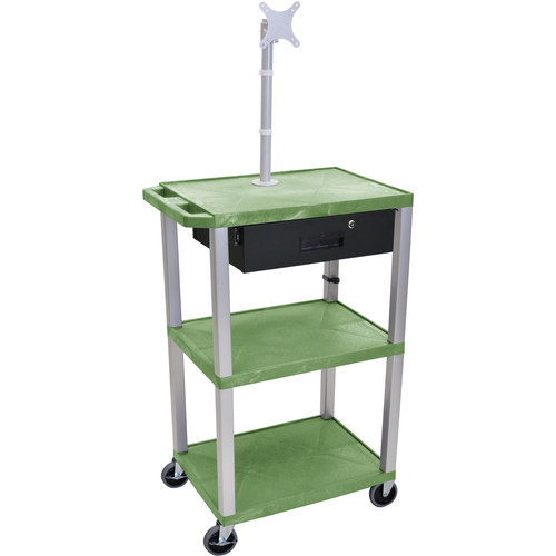 """Luxor 42"""" A/V Cart with Monitor Mount, 3 Shelves, Locking Drawer & Electric Assembly (Green)"""