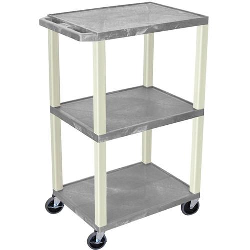 "Luxor 42"" A/V Cart with 3 Shelves (Gray Shelves, Putty Legs)"