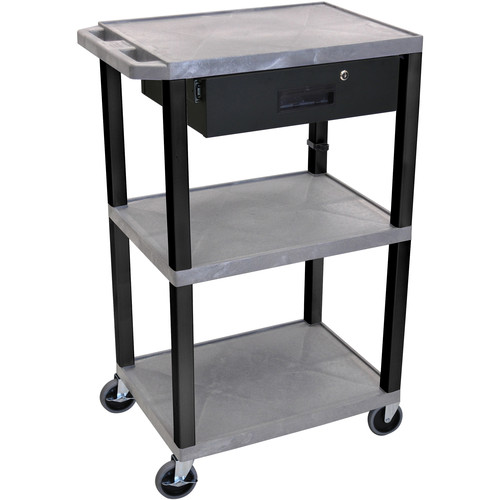 "Luxor 42"" A/V Cart with 3 Shelves and Locking Drawer (Gray Shelves, Black Legs)"