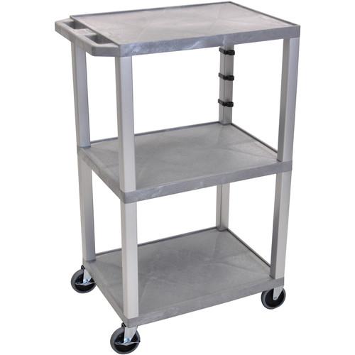 "Luxor 42"" A/V Cart with 3 Shelves (Gray Shelves, Nickel-Colored Legs)"