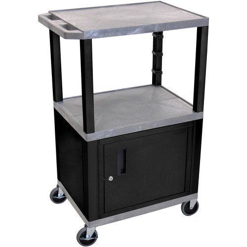 "Luxor 42"" A/V Cart with 3 Shelves and Cabinet (Gray Shelves, Black Legs)"