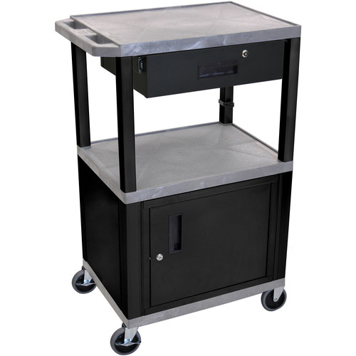 "Luxor 42"" A/V Cart with 3 Shelves, Cabinet, Locking Drawer, and Electrical Assembly (Gray Shelves, Black Legs)"