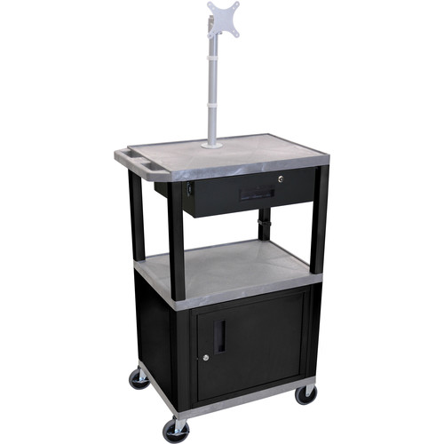 """Luxor 42"""" A/V Cart with Monitor Mount, 3 Shelves, Cabinet, Locking Drawer & Electric Assembly (Gray)"""
