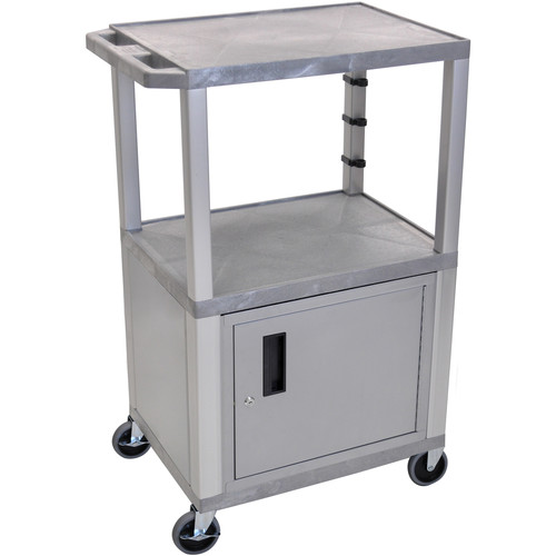 "Luxor 42"" A/V Cart with 2 Shelves, 3-Outlet Electrical Assembly, and Cabinet (Gray Shelves, Nickel-Colored Legs and Cabinet)"