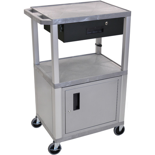 "Luxor 42"" A/V Cart with 2 Shelves, Cabinet, 3-Outlet Electrical Assembly, and Locking Drawer (Gray Shelves, Nickel-Colored Legs and Cabinet)"