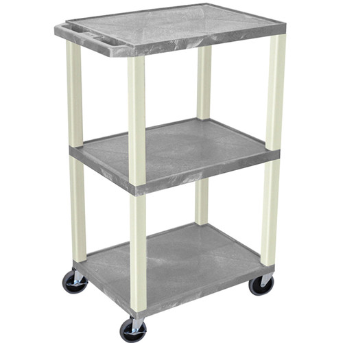"Luxor 42"" A/V Cart with 3 Shelves and Electrical Assembly (Gray Shelves, Putty Legs)"