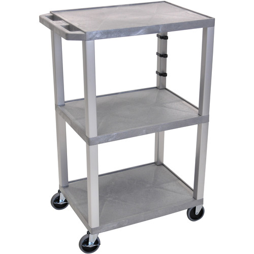 "Luxor 42"" A/V Cart with 3 Shelves and 3-Outlet Electrical Assembly (Gray Shelves, Nickel-Colored Legs)"