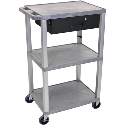 "Luxor 42"" A/V Cart with 3 Shelves, 3-Outlet Electrical Assembly, and Locking Drawer (Gray Shelves, Nickel-Colored Legs)"