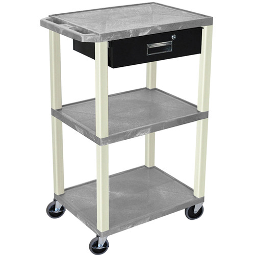 "Luxor 42"" A/V Cart with 3 Shelves, 3-Outlet Electrical Assembly, and Locking Drawer (Gray Shelves and Putty Legs)"