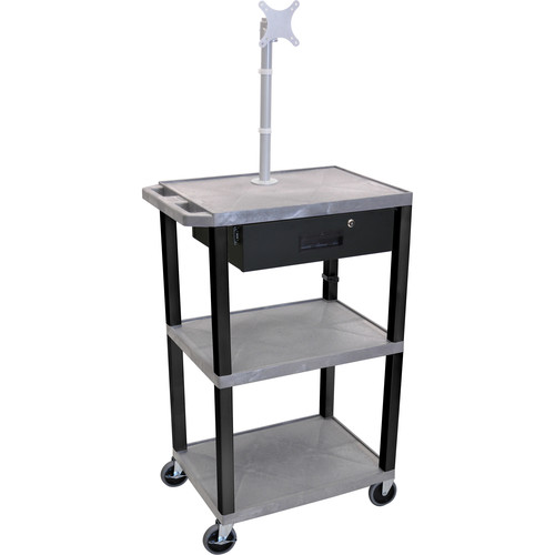 "Luxor 42"" A/V Cart with Monitor Mount, 3 Shelves, Locking Drawer & Electric Assembly (Gray)"