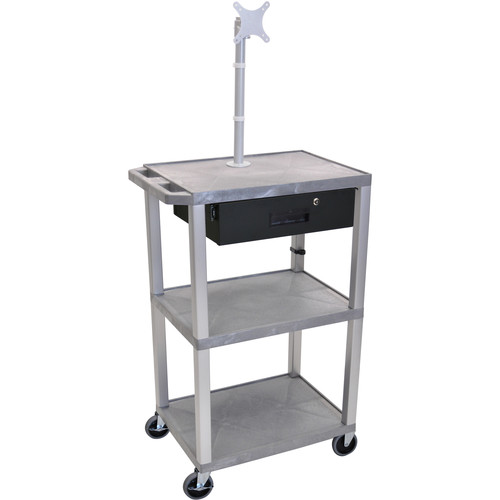 """Luxor 42"""" A/V Cart with Monitor Mount, 3 Shelves, Locking Drawer & Electric Assembly (Grey)"""