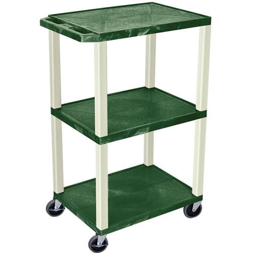 "Luxor 42"" A/V Cart with 3 Shelves (Hunter Green Shelves, Putty Legs)"