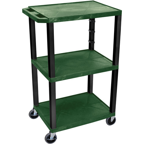 "Luxor 42"" A/V Cart with 3 Shelves (Hunter Green Shelves, Black Legs)"