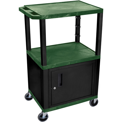 "Luxor 42"" A/V Cart with 3 Shelves and Cabinet (Hunter Green Shelves, Black Legs)"