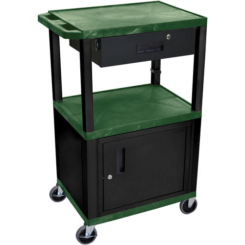 "Luxor 42"" A/V Cart with 3 Shelves, Cabinet, Locking Drawer, and Electrical Assembly (Hunter Green Shelves, Black Legs)"