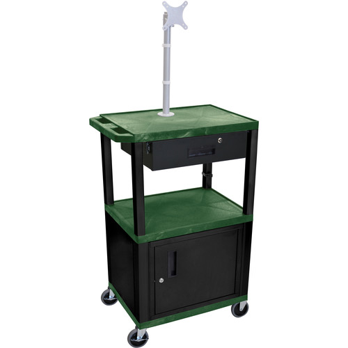 "Luxor 42"" A/V Cart with Monitor Mount, 3 Shelves, Cabinet, Locking Drawer & Electric Assembly (Hunter Green)"
