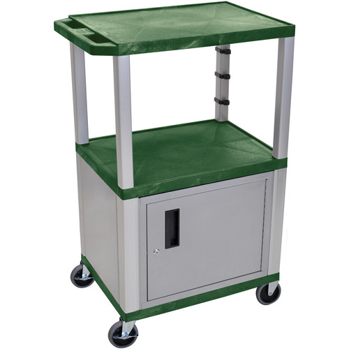 "Luxor 42"" A/V Cart with 2 Shelves and Cabinet (Hunter Green Shelves, Nickel-Colored Legs and Cabinet)"