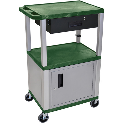 "Luxor 42"" A/V Cart with 2 Shelves, Cabinet, 3-Outlet Electrical Assembly, and Locking Drawer (Hunter Green Shelves, Nickel-Colored Legs and Cabinet)"