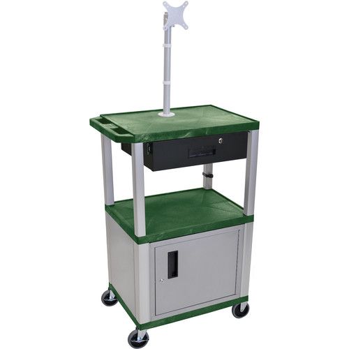 """Luxor 42"""" A/V Cart with Monitor Mount, 3 Shelves, Cabinet, Locking Drawer & Electric Assembly (Hunter Green)"""