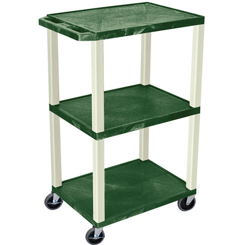 "Luxor 42"" A/V Cart with 3 Shelves and Electrical Assembly (Hunter Green Shelves, Putty Legs)"