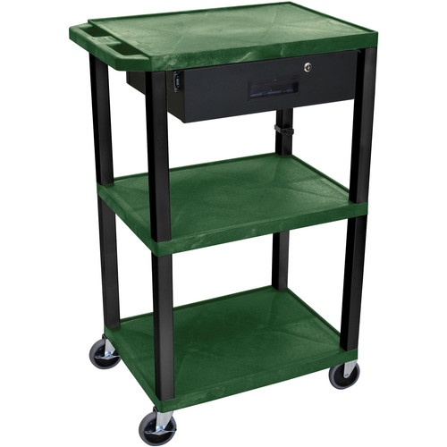 "Luxor 42"" A/V Cart with 3 Shelves Locking Drawer and Electrical Assembly (Hunter Green Shelves, Black Legs)"