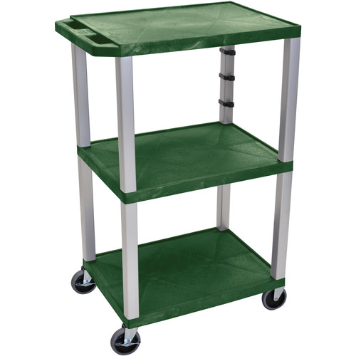 "Luxor 42"" A/V Cart with 3 Shelves and 3-Outlet Electrical Assembly (Hunter Green Shelves, Nickel-Colored Legs)"