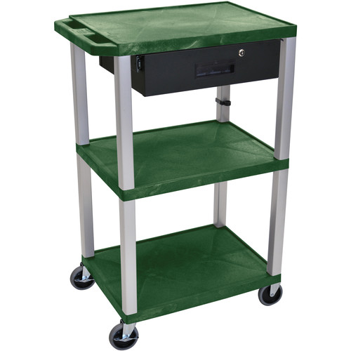 "Luxor 42"" A/V Cart with 3 Shelves, 3-Outlet Electrical Assembly, and Locking Drawer (Hunter Green Shelves, Nickel-Colored Legs)"