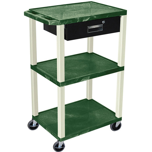 "Luxor 42"" A/V Cart with 3 Shelves, 3-Outlet Electrical Assembly, and Locking Drawer (Hunter Green Shelves and Putty Legs)"