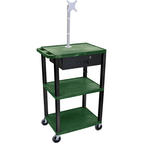 """Luxor 42"""" A/V Cart with Monitor Mount, 3 Shelves, Locking Drawer & Electric Assembly (Hunter Green)"""