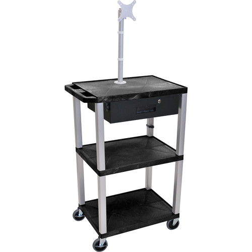 "Luxor 42"" A/V Cart with Monitor Mount, 3 Shelves, Locking Drawer & Electric Assembly (Black)"