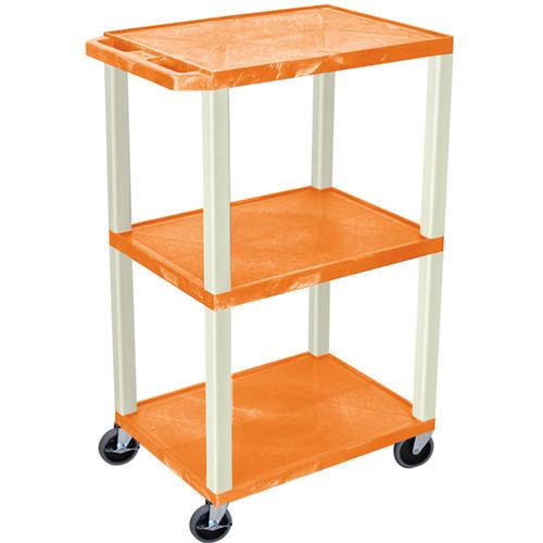 """Luxor 42"""" A/V Cart with 3 Shelves (Orange Shelves, Putty Legs)"""