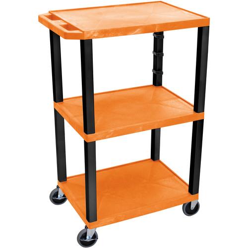"""Luxor 42"""" A/V Cart with 3 Shelves (Orange Shelves, Black Legs)"""