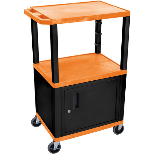 "Luxor 42"" A/V Cart with 3 Shelves and Cabinet (Orange Shelves, Black Legs)"