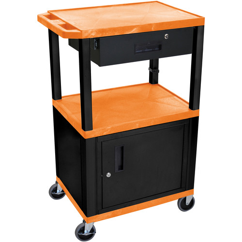 """Luxor 42"""" A/V Cart with 3 Shelves, Cabinet, Locking Drawer, and Electrical Assembly (Orange Shelves, Black Legs)"""
