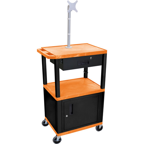 "Luxor 42"" A/V Cart with Monitor Mount, 3 Shelves, Cabinet, Locking Drawer & Electric Assembly (Orange)"