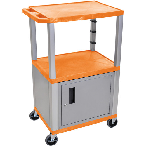 "Luxor 42"" A/V Cart with 2 Shelves, 3-Outlet Electrical Assembly, and Cabinet (Orange Shelves, Nickel-Colored Legs and Cabinet)"