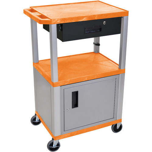 "Luxor 42"" A/V Cart with 2 Shelves, Cabinet, 3-Outlet Electrical Assembly, and Locking Drawer (Orange Shelves, Nickel-Colored Legs and Cabinet)"