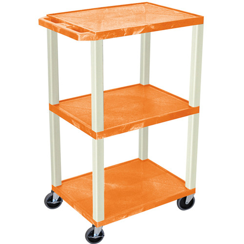 "Luxor 42"" A/V Cart with 3 Shelves and Electrical Assembly (Orange Shelves, Putty Legs)"