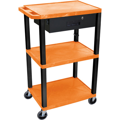 "Luxor 42"" A/V Cart with 3 Shelves Locking Drawer and Electrical Assembly (Orange Shelves, Black Legs)"