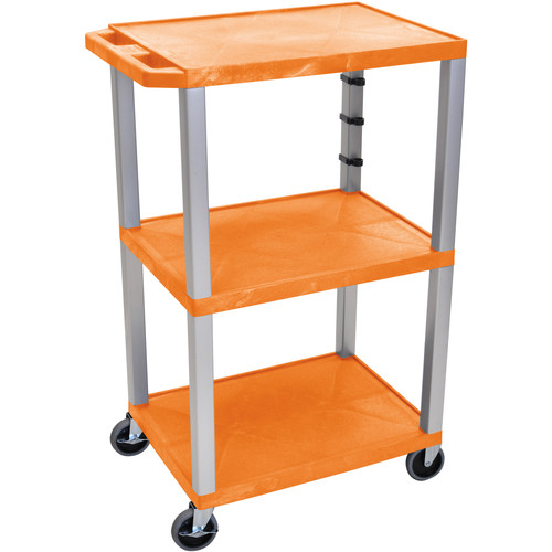 "Luxor 42"" A/V Cart with 3 Shelves and 3-Outlet Electrical Assembly (Orange Shelves, Nickel-Colored Legs)"