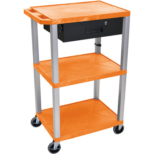 "Luxor 42"" A/V Cart with 3 Shelves, 3-Outlet Electrical Assembly, and Locking Drawer (Orange Shelves, Nickel-Colored Legs)"